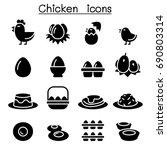chicken   egg icons | Shutterstock .eps vector #690803314