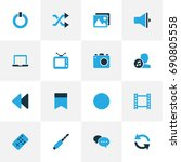 multimedia colorful icons set.... | Shutterstock .eps vector #690805558