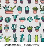 seamless pattern with cactus | Shutterstock .eps vector #690807949