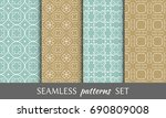 set of 4 seamless geometric... | Shutterstock .eps vector #690809008