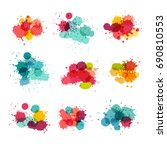watercolor splashes. colorful... | Shutterstock . vector #690810553