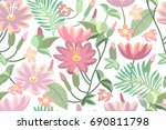 pink tropical flowers. seamless ... | Shutterstock .eps vector #690811798