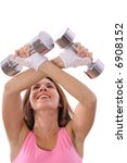 happy girl lifting weights | Shutterstock . vector #6908152