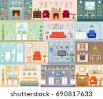 a set of different interiors.... | Shutterstock .eps vector #690817633