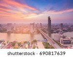 aerial view bangkok city with... | Shutterstock . vector #690817639