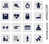 set of 16 fitness icons set... | Shutterstock .eps vector #690822289