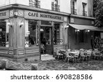 typical paris style street cafe ... | Shutterstock . vector #690828586