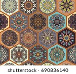 colorful vintage seamless... | Shutterstock .eps vector #690836140