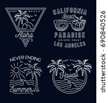 retro summer print set. for t... | Shutterstock .eps vector #690840526