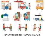 street food in bangkok elements ... | Shutterstock .eps vector #690846736