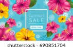 summer sale background with... | Shutterstock . vector #690851704