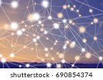 blue abstract technology and... | Shutterstock . vector #690854374