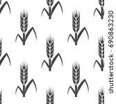 wheat seamless pattern. vector... | Shutterstock .eps vector #690863230
