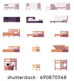 vector low poly beds and sofas... | Shutterstock .eps vector #690870568