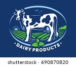 dairy cow with horns  standing... | Shutterstock .eps vector #690870820