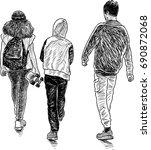 friends teenagers go for a walk | Shutterstock .eps vector #690872068
