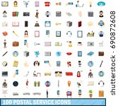 100 postal service icons set in ... | Shutterstock . vector #690872608