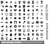 100 cuisine icons set in simple ... | Shutterstock . vector #690872794