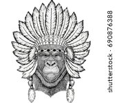 gorilla  monkey  ape frightful... | Shutterstock . vector #690876388