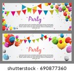 party background baner with... | Shutterstock .eps vector #690877360