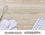 white cooking gloves  napkin... | Shutterstock . vector #690880894