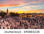 jamaa el fna market square ...   Shutterstock . vector #690883228