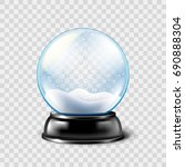 christmas snow globe isolated... | Shutterstock .eps vector #690888304