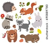 forest animals vector set of... | Shutterstock .eps vector #690889780
