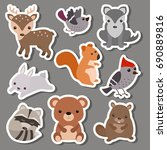 forest animal stickers. animals ... | Shutterstock .eps vector #690889816
