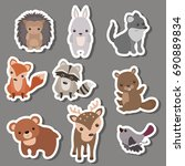 forest animal stickers. animals ... | Shutterstock .eps vector #690889834