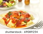 ravioli pasta with red tomato... | Shutterstock . vector #69089254