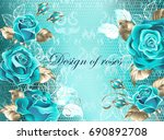 turquoise lace background with... | Shutterstock .eps vector #690892708
