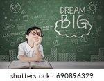image of little girl looks... | Shutterstock . vector #690896329