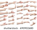 collage of male hand gestures ... | Shutterstock . vector #690902680