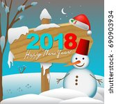 2018 happy new year card or... | Shutterstock .eps vector #690903934