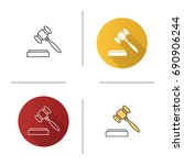 gavel icon. flat design  linear ... | Shutterstock .eps vector #690906244