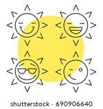 sun smiles linear icons set.... | Shutterstock .eps vector #690906640