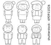 vector set of elder people | Shutterstock .eps vector #690911026