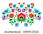 folk embroidery ornament with...   Shutterstock .eps vector #690912526