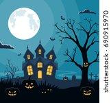 halloween background with... | Shutterstock .eps vector #690915970