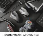 gamer workspace concept  top... | Shutterstock . vector #690932713