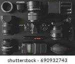 top view of work space... | Shutterstock . vector #690932743