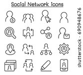 social network icons in thin...   Shutterstock .eps vector #690948676