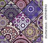 seamless pattern. vintage... | Shutterstock .eps vector #690948943