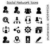 social network icons  | Shutterstock .eps vector #690949534
