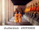 asia boys ordination is novice... | Shutterstock . vector #690950830