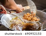 deep fried crab meat sausage | Shutterstock . vector #690952153