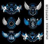 vintage decorative heraldic...   Shutterstock .eps vector #690955138