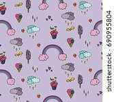 seamless pattern with cute... | Shutterstock .eps vector #690955804