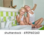 good morning.two brothers in... | Shutterstock . vector #690960160